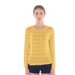 Sunny Yellow Quatrefoil Pattern Women s Long Sleeve Tee by Zandiepants