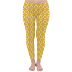 Sunny Yellow Quatrefoil Pattern Winter Leggings  by Zandiepants