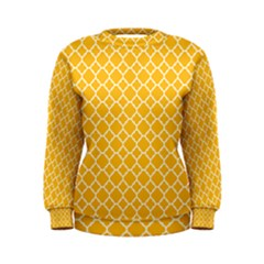 Sunny Yellow Quatrefoil Pattern Women s Sweatshirt by Zandiepants