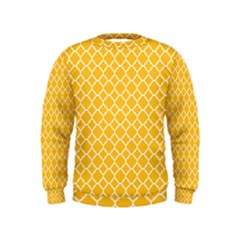 Sunny Yellow Quatrefoil Pattern Kids  Sweatshirt by Zandiepants
