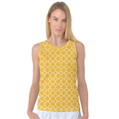 Sunny Yellow Quatrefoil Pattern Women s Basketball Tank Top by Zandiepants