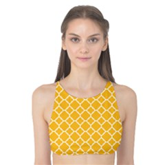 Sunny Yellow Quatrefoil Pattern Tank Bikini Top by Zandiepants