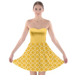 Sunny Yellow Quatrefoil Pattern Strapless Bra Top Dress by Zandiepants