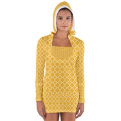 Sunny Yellow Quatrefoil Pattern Women s Long Sleeve Hooded T Shirt by Zandiepants