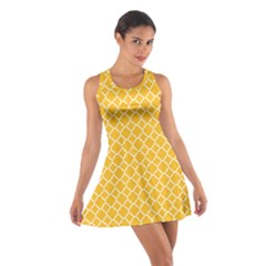 Sunny Yellow Quatrefoil Pattern Cotton Racerback Dress by Zandiepants