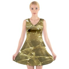 Gold Bar Golden Chic Festive Sparkling Gold  V Neck Sleeveless Skater Dress by yoursparklingshop