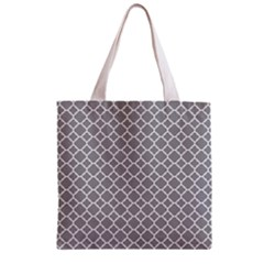 Grey Quatrefoil Pattern Zipper Grocery Tote Bag by Zandiepants