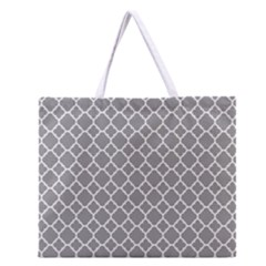 Grey Quatrefoil Pattern Zipper Large Tote Bag by Zandiepants