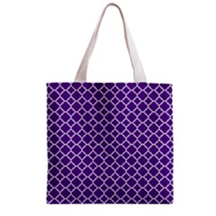 Turquoise Damask Pattern Zipper Grocery Tote Bag by Zandiepants