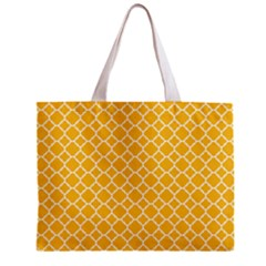 Sunny Yellow Quatrefoil Pattern Zipper Mini Tote Bag by Zandiepants
