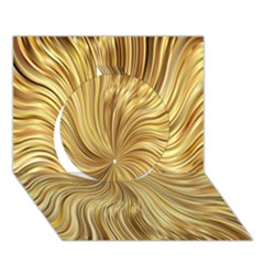 Chic Festive Elegant Gold Stripes Circle 3d Greeting Card (7x5)  by yoursparklingshop