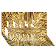 Chic Festive Elegant Gold Stripes Best Wish 3d Greeting Card (8x4)  by yoursparklingshop