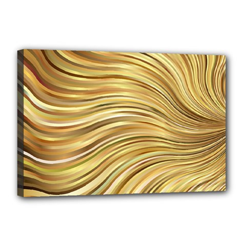 Chic Festive Gold Brown Glitter Stripes Canvas 18  X 12  by yoursparklingshop