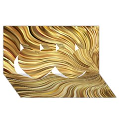 Chic Festive Gold Brown Glitter Stripes Twin Hearts 3d Greeting Card (8x4)  by yoursparklingshop