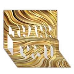 Chic Festive Gold Brown Glitter Stripes Thank You 3d Greeting Card (7x5)  by yoursparklingshop