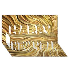 Chic Festive Gold Brown Glitter Stripes Happy New Year 3d Greeting Card (8x4)  by yoursparklingshop