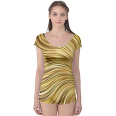 Chic Festive Gold Brown Glitter Stripes Boyleg Leotard (ladies) by yoursparklingshop