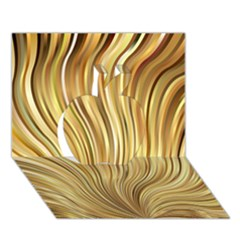 Gold Stripes Festive Flowing Flame  Apple 3d Greeting Card (7x5)  by yoursparklingshop