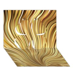 Gold Stripes Festive Flowing Flame  Clover 3d Greeting Card (7x5)  by yoursparklingshop