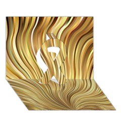 Gold Stripes Festive Flowing Flame  Ribbon 3d Greeting Card (7x5)  by yoursparklingshop