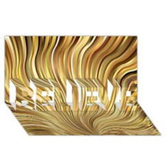 Gold Stripes Festive Flowing Flame  Believe 3d Greeting Card (8x4)  by yoursparklingshop