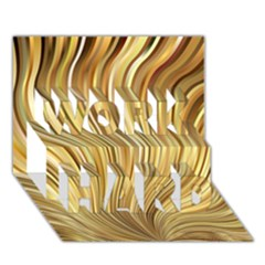 Gold Stripes Festive Flowing Flame  Work Hard 3d Greeting Card (7x5)  by yoursparklingshop