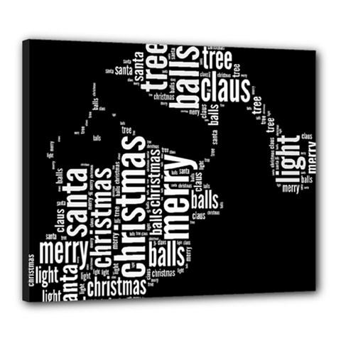 Funny Santa Black And White Typography Canvas 24  X 20  by yoursparklingshop