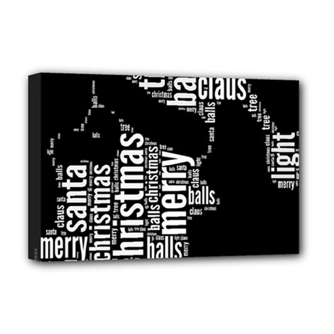 Funny Santa Black And White Typography Deluxe Canvas 18  X 12   by yoursparklingshop