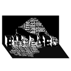 Funny Santa Black And White Typography Engaged 3d Greeting Card (8x4)