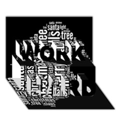 Funny Santa Black And White Typography Work Hard 3d Greeting Card (7x5)  by yoursparklingshop