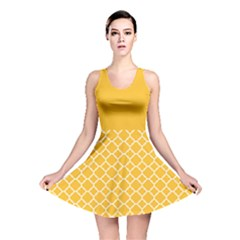 Sunny Yellow Quatrefoil Pattern Reversible Skater Dress by Zandiepants