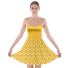 Sunny Yellow Quatrefoil Pattern Strapless Dresses by Zandiepants