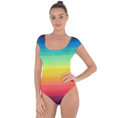 Sweet Colored Stripes Background Short Sleeve Leotard (ladies) by TastefulDesigns