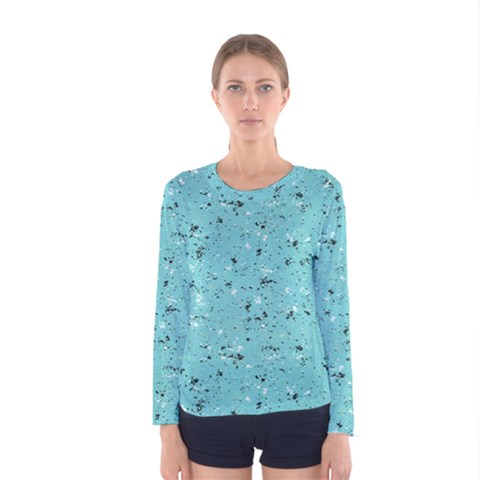 Abstract Cracked Texture Print Women s Long Sleeve Tee by dflcprintsclothing