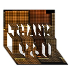 Metallic Geometric Abstract Urban Industrial Futuristic Modern Digital Art Thank You 3d Greeting Card (7x5)  by CrypticFragmentsDesign