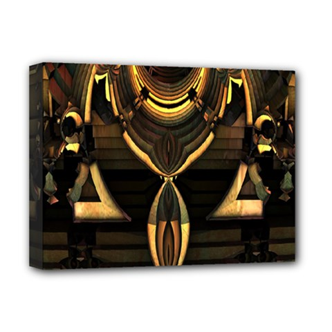 Golden Metallic Geometric Abstract Modern Art Deluxe Canvas 16  X 12  (stretched)  by CrypticFragmentsDesign