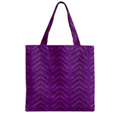 Grunge Chevron Style Zipper Grocery Tote Bag