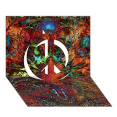 Boho Bohemian Hippie Floral Abstract Peace Sign 3d Greeting Card (7x5)  by CrypticFragmentsDesign