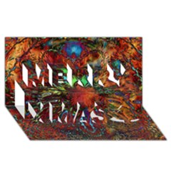 Boho Bohemian Hippie Floral Abstract Merry Xmas 3d Greeting Card (8x4)  by CrypticFragmentsDesign