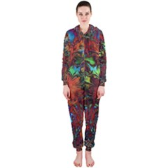 Boho Bohemian Hippie Floral Abstract Hooded Jumpsuit (ladies)  by CrypticFragmentsDesign