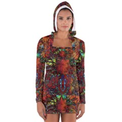 Boho Bohemian Hippie Floral Abstract Women s Long Sleeve Hooded T Shirt by CrypticFragmentsDesign