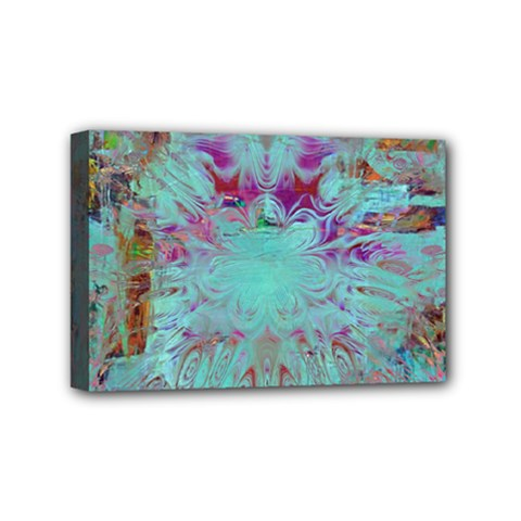 Retro Hippie Abstract Floral Blue Violet Mini Canvas 6  X 4  by CrypticFragmentsDesign