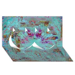 Retro Hippie Abstract Floral Blue Violet Twin Hearts 3d Greeting Card (8x4)  by CrypticFragmentsDesign