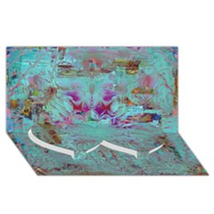 Retro Hippie Abstract Floral Blue Violet Twin Heart Bottom 3d Greeting Card (8x4)  by CrypticFragmentsDesign