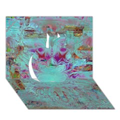 Retro Hippie Abstract Floral Blue Violet Apple 3d Greeting Card (7x5)  by CrypticFragmentsDesign