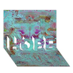 Retro Hippie Abstract Floral Blue Violet Hope 3d Greeting Card (7x5)  by CrypticFragmentsDesign