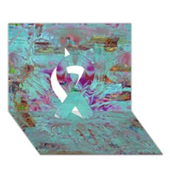 Retro Hippie Abstract Floral Blue Violet Ribbon 3d Greeting Card (7x5)  by CrypticFragmentsDesign
