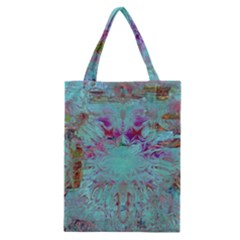 Retro Hippie Abstract Floral Blue Violet Classic Tote Bag by CrypticFragmentsDesign