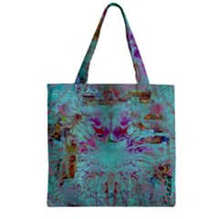 Retro Hippie Abstract Floral Blue Violet Zipper Grocery Tote Bag by CrypticFragmentsDesign