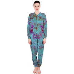 Retro Hippie Abstract Floral Blue Violet Onepiece Jumpsuit (ladies)  by CrypticFragmentsDesign